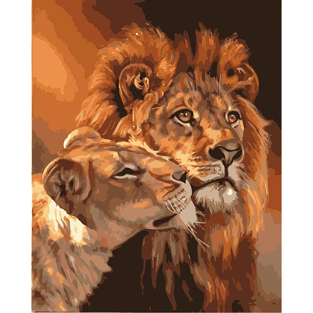 Framed Lions Family Animals DIY Painting By Numbers Acrylic Picture Modern  1