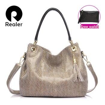 Realer женские сумки натуральная кожа бренд сумка с короткими ручками, сумки высокого качества кожаная сумка,саквояж ,большая cумка через плеч...
