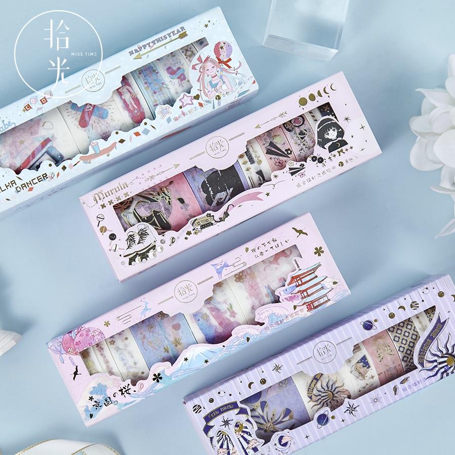 8 Pcs/lot Flower Elf Series Bullet Journal Washi Tape Set Decorative Adhesive Tape DIY Scrapbooking Sticker Label