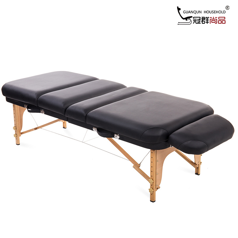 Guan Qun Luxury Folding Spa Body-hugging Beauty Bed Massage Bed Original Point Massage Table 4 Fold Double Layer Thick Model