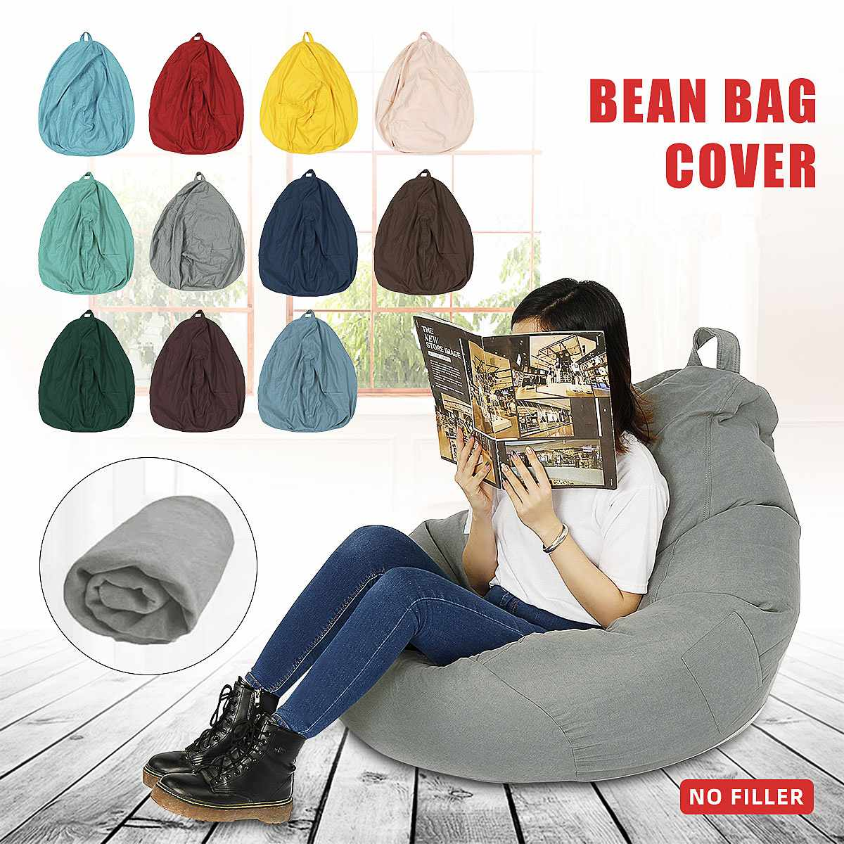 70x70cm Lazy BeanBag Sofas Cover Chairs without Filler Linen Cloth Lounger Seat Bean Bag Puff Couch Tatami Living Room Furniture 1