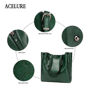 Image 5 - ACELURE Famous Brand Handbag Women PU Leather Shoulder Bag Casual Large Capacity Top Handle Bucket Bag Simple Style Solid Totes