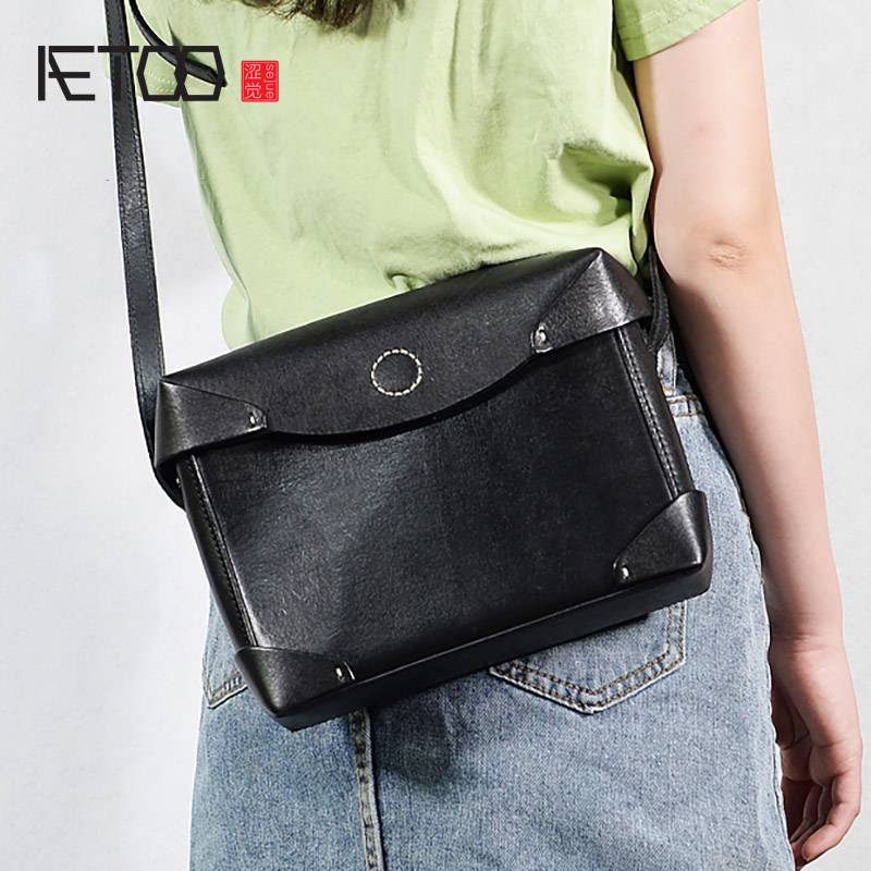 AETOO Vintage cowhide box bag, leather stereotype pack, plant tanning cowhide small square bag