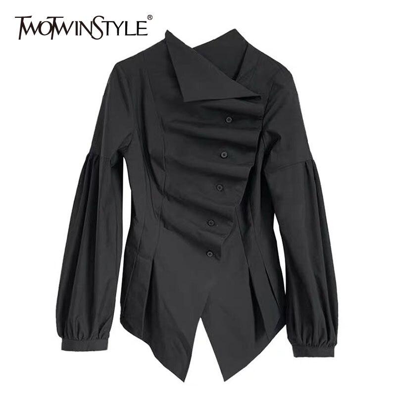 TWOTWINSTYLE Casual Blouse Female Stand Collar Lantern Long Sleeve Tunic Irregular Hem Shirt Women Fashion Clothing 2020 Spring