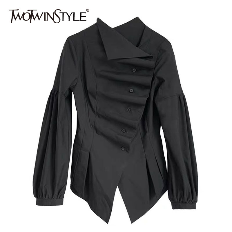 TWOTWINSTYLE Casual Blouse Female Stand Collar Lantern Long Sleeve Tunic Irregular Hem Shirt Women Fashion Clothing 2020 Spring