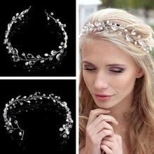 Элегантный свадебный свадьба волосы аксессуары кристалл жемчуг цветок девушка повязка на голову лента головной убор волосы украшения аксессуары