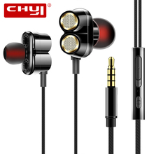 CHYI Metal Wired In Ear Earphone With Microphone 3.5MM Line Type Music Earbuds Handfree