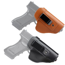 Funda de pistola de cuero genuino táctico IWB oculto llevar pistola Clip caso para Glock 17 19 21 22 23 26 43 Sig Sauer P226 P229