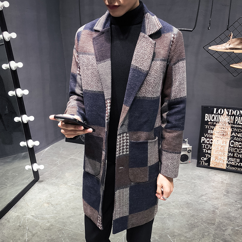 YASUGUOJI New Winter Fashion Single Breasted Contrast Color Plaid Slim Fit Long Coat Men Plus Size Patchwork Mens Overcoat