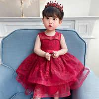 Baby Girls Red Baptism Dress Newborn Princess Birthday Wear Infant Flower Christening Ball Gown Kids Dresses for Girls 12 24M