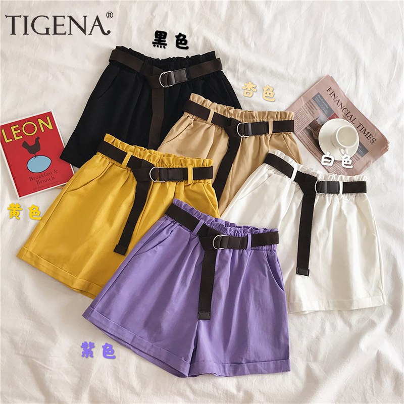 TIGENA Elastic High Waist Cotton Shorts Women 2020 Summer Korean Casual School Short Pants Women Yellow Purple Shorts Female
