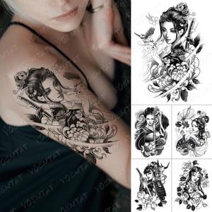Waterproof Temporary Tattoo Sticker Kimono Beauty Warrior Bird Flash Tattoos Japanese Sketch Body Art Arm Fake Tatoo Women Men
