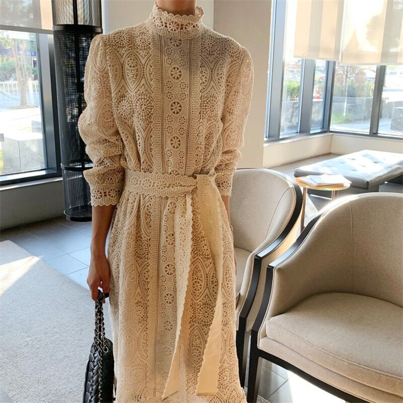 HziriP 2020 Stylish Lace All-Match Korean Elegant Lace-Up Chic Hook Flowers Women Sweet Gentle Fashion Girls Female Long Dresses