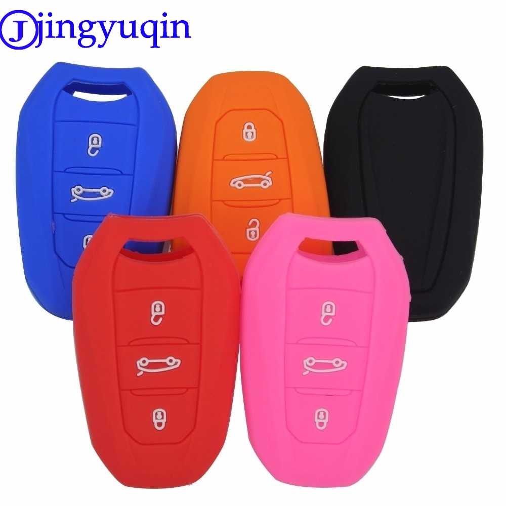 Jingyuqin 3Buttons Silicone Key Case Cover For Peugeot 508 301 2008 3008 4008 407 408 Citroen C5 C6 C4L CACTUS C3XR DS Smart Key