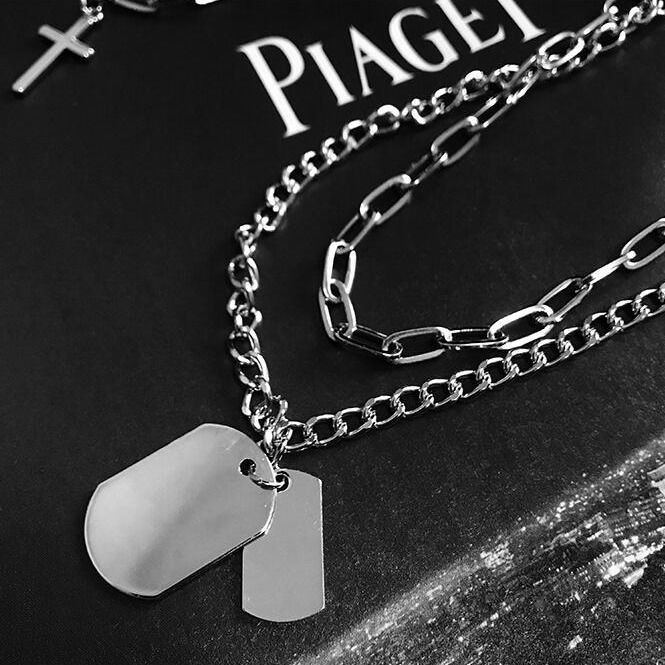 New Personality Cross Square Metal Multilayer Hip hop Long Chain Cool Simple Necklace For Women men Jewelry Gifts 19