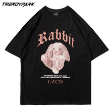 2021 Men Streetwear Oversize Tshirt Hip Hop Harajuku Rabbit Doll Printed Vintage T-Shirt Summer Short Sleeve Tops Tees T Shirt