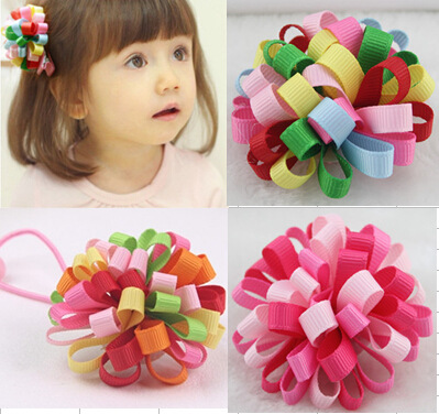 5 colors Available. Elastic Hair Bands/Hair Clips with half ball with Coloured Ribbon,Hair Accessories for Girl.