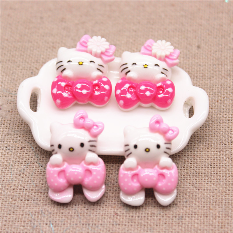 20 шт. кавайный розовый/ярко-розовый мультяшный Кот миниатюрный кабошон с плоской задней частью для художественного оформления своими рукам...