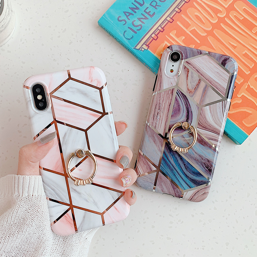 Geometric Marble Ring Holder Phone Case For iPhone 11 Pro Max XR X XS Max 7