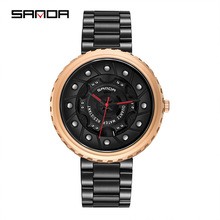 Sanda New Mens Quartz WristWatch Stainless Steel Business Hollow Large Dial Fashion Personality Rose Gold Black Watch