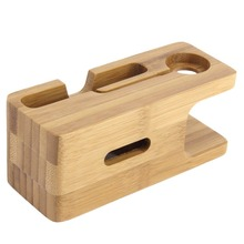 Bamboo Wood Charger Station for Apple Watch Charging Dock Station Charger Stand Holder for iPhone 5s 6 Dock Stand Cradle Holder high grade u type metal bracket cradle phone holder stand for iphone for iwatch charging dock station holder for apple watch