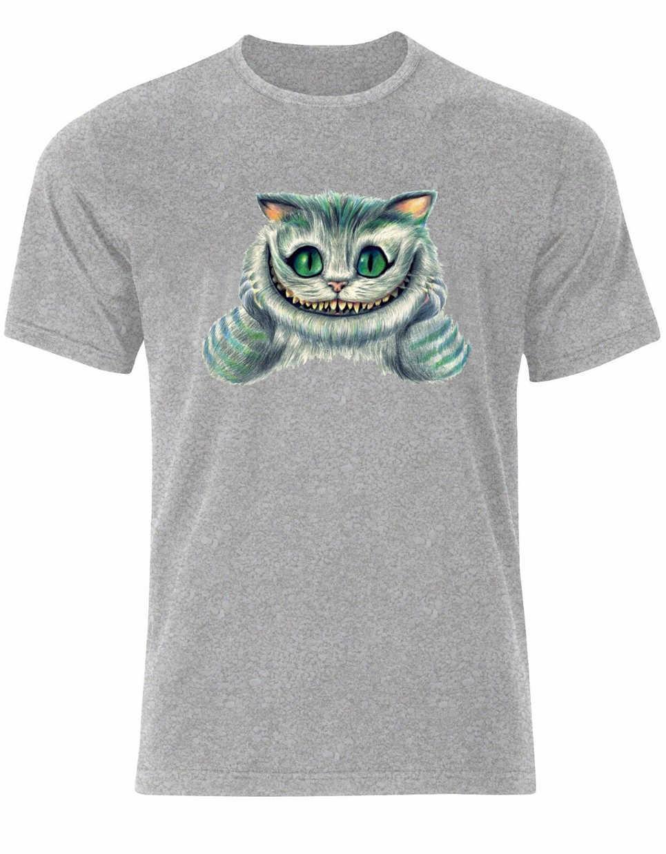الشر القط شيشاير يبتسم الأسلحة أليس في بلاد العجائب قميص رجالي تي شيرت Ak33 رياضة تي شيرت
