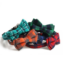 Plaid coloré petits chiens colliers coton rayé collier noeud papillon bouledogue Chihuahua noeud papillon chiot chats fête Bandana collier(China)