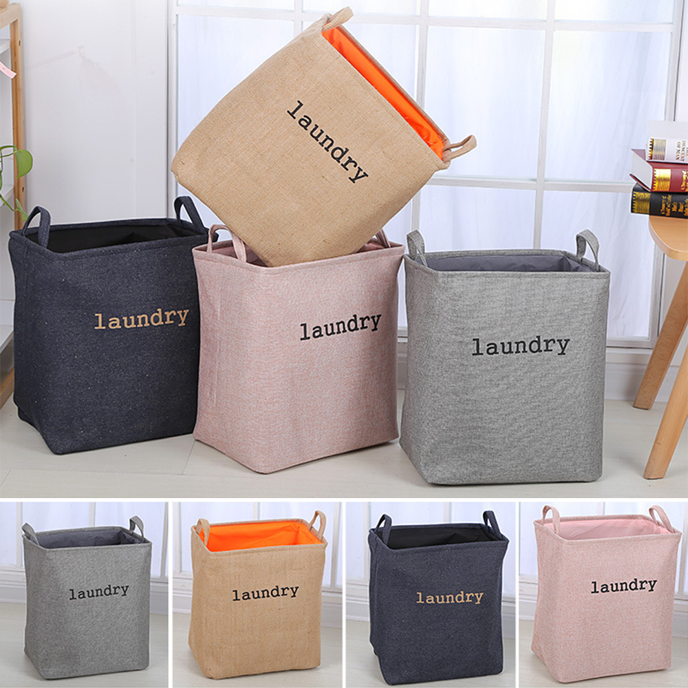 Folding Collapsible Laundry Basket Dirty Clothes Laundry Hamper With Handles Square Storage Bin Bucket For Home Toys 1pcs