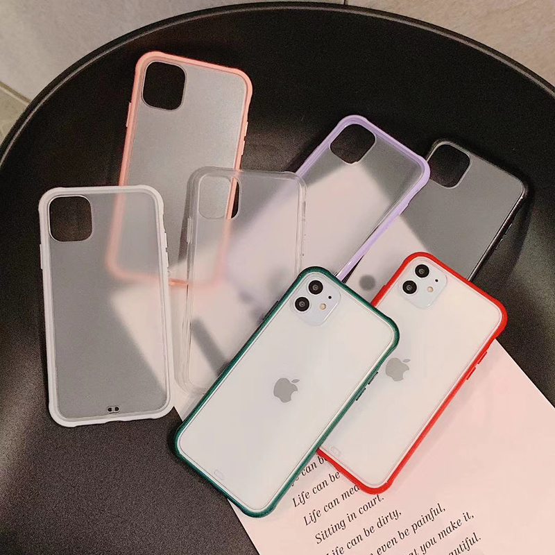 Shockproof Frame Matte Phone <font><b>Case</b></font> For <font><b>iPhone</b></font> 11 11Pro Max 6 <font><b>6S</b></font> 7 8 Plus X XS Max XR Transparent Hard Protective Back Cover Capa image