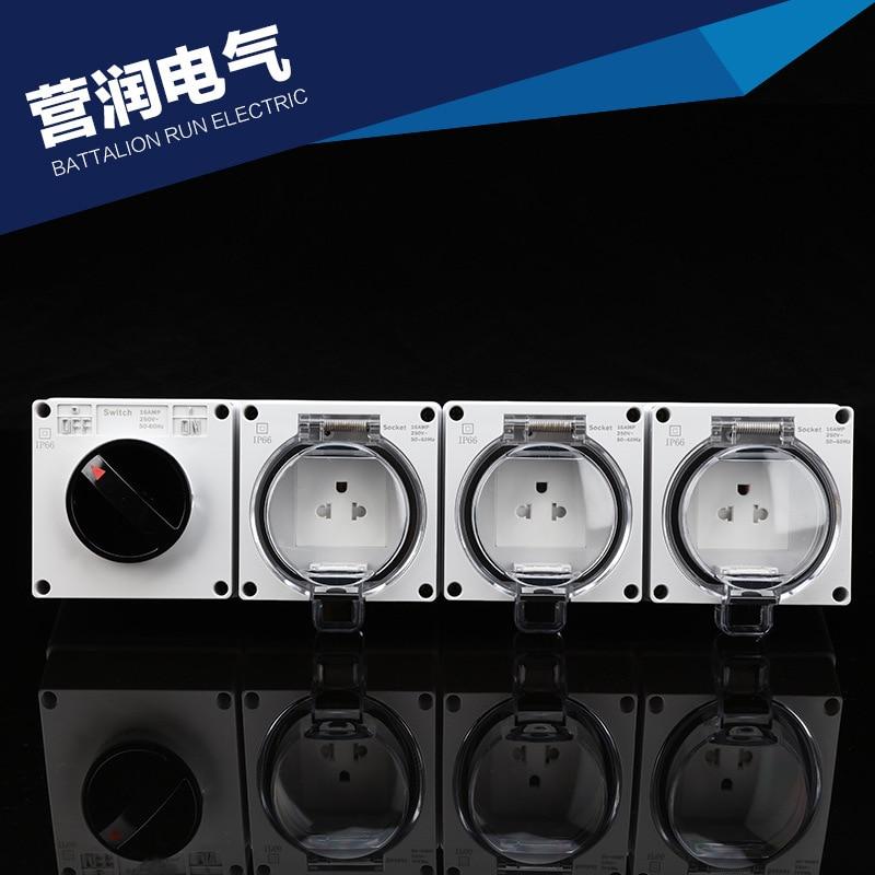 American standard socket  IP66 waterproof industrial socket outdoor waterproof outlet 3 Gang socket  with a switch