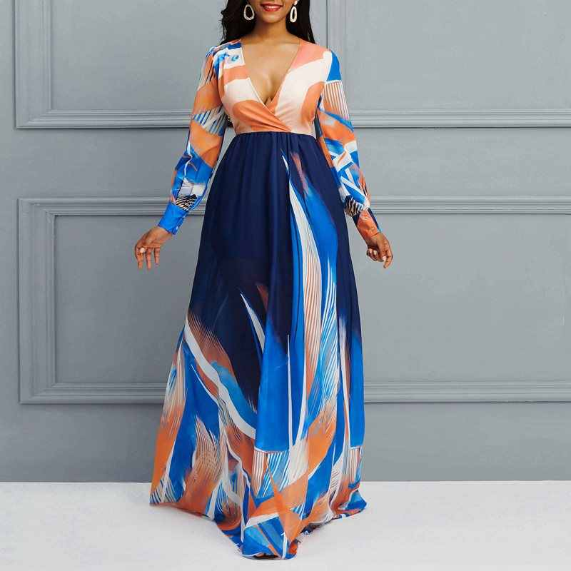 Boho V-צוואר ארוך שרוול מודפס מקסי שמלת Boho חופשת נוח שיפון שמלת אפריקאי מקרית כושר אלגנטי התלקחות שמלה