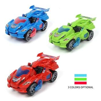 цена на Dropshipping LED Deformation Dinosaur Car Kids Toys Automatic Transform Cars Dinosaur With Light/Music Toy Car For Children Gift