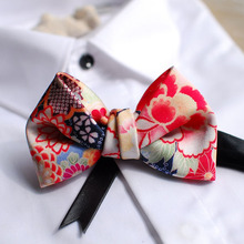 Free shipping new mens male printed groom groomsman Oriental style and Japanese style design wedding host bow tie Western