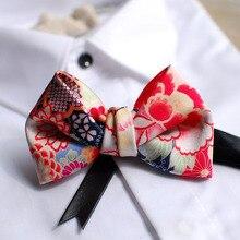 จัดส่งฟรีชายพิมพ์เจ้าบ่าวเจ้าบ่าว Oriental สไตล์การออกแบบสไตล์ญี่ปุ่นงานแต่งงานโฮสต์ Bow Tie Western