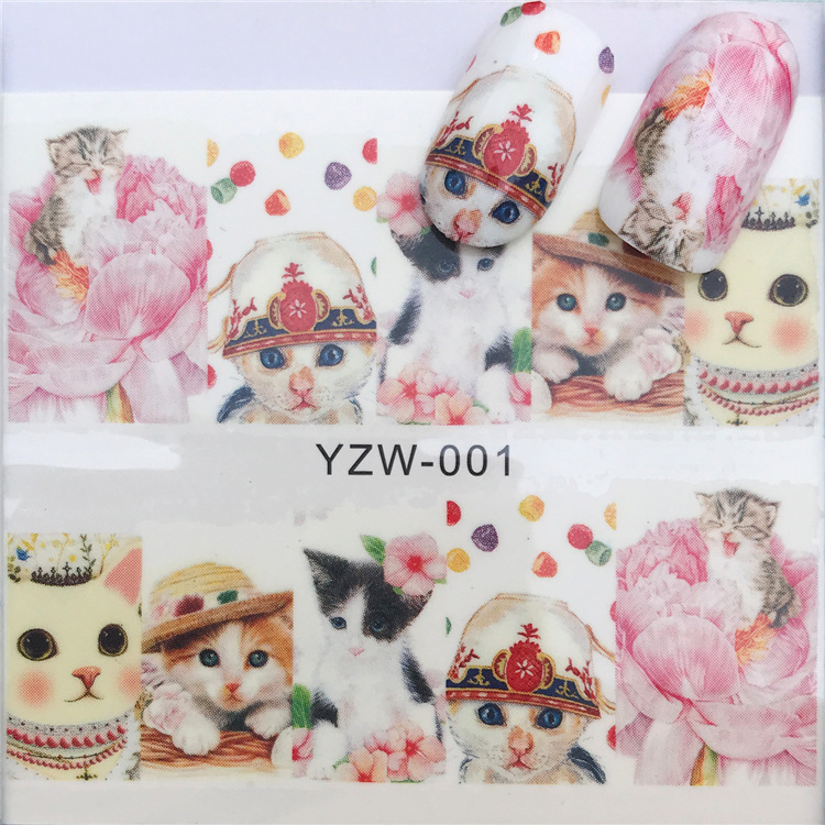 Manicure 3D Sticker Beautiful Cute Cat INS Super Fire Floral Lace Cactus Cartoon Nail Sticker Flower Jewelry
