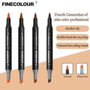 Image 3 - Finecolour EF103 12/24/36 kolory skóry markery na bazie alkoholu markery sztuki kaligrafii markery dwugłowe szczotki do rysowania