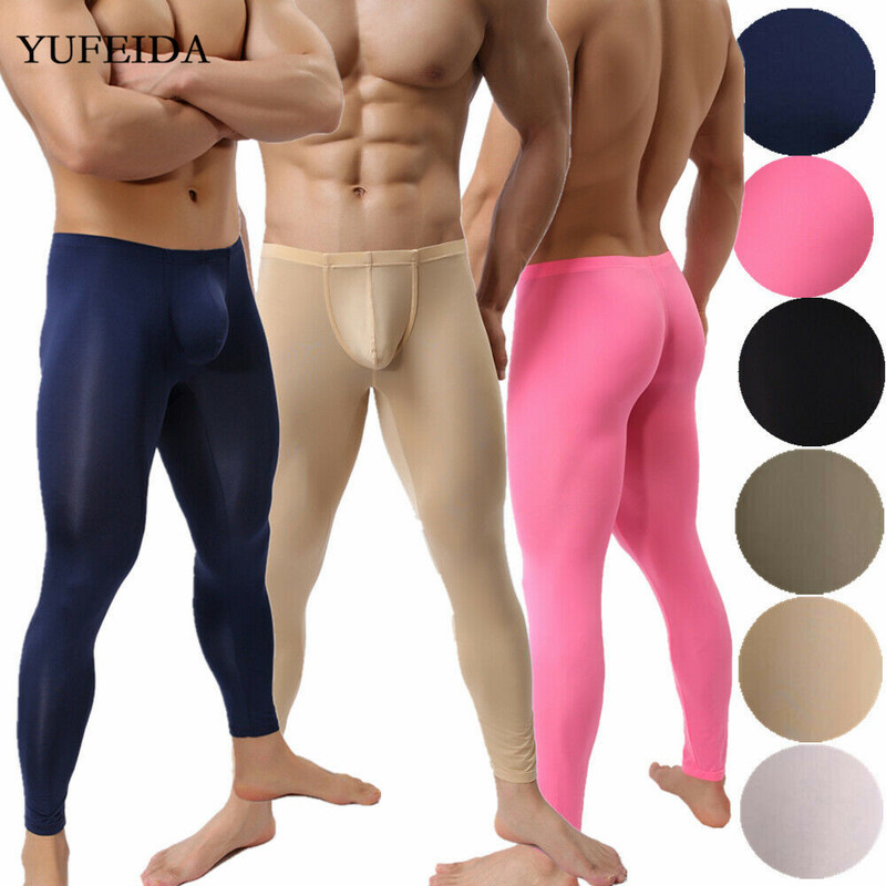 Mens Leggings Joggers Trousers Soft Compression Underwear Men Pants Long Trousers Fitness Sports Gym Sweatpants Sleep Bottoms