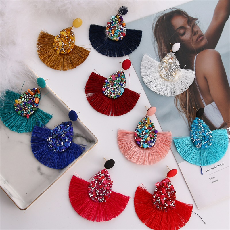 Bohemia Colorful Crystal Tassel Earrings For Women Charm Earings Fashion Jewelry Wedding Bridal Statement Fringe Earring Jewelry