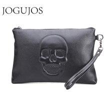 JOGUJOS Cowhide Genuine Leather Men Document Bag A4 Ipad  Luxury Envelope Clutch Skeleton Skull Mens Cases Solid