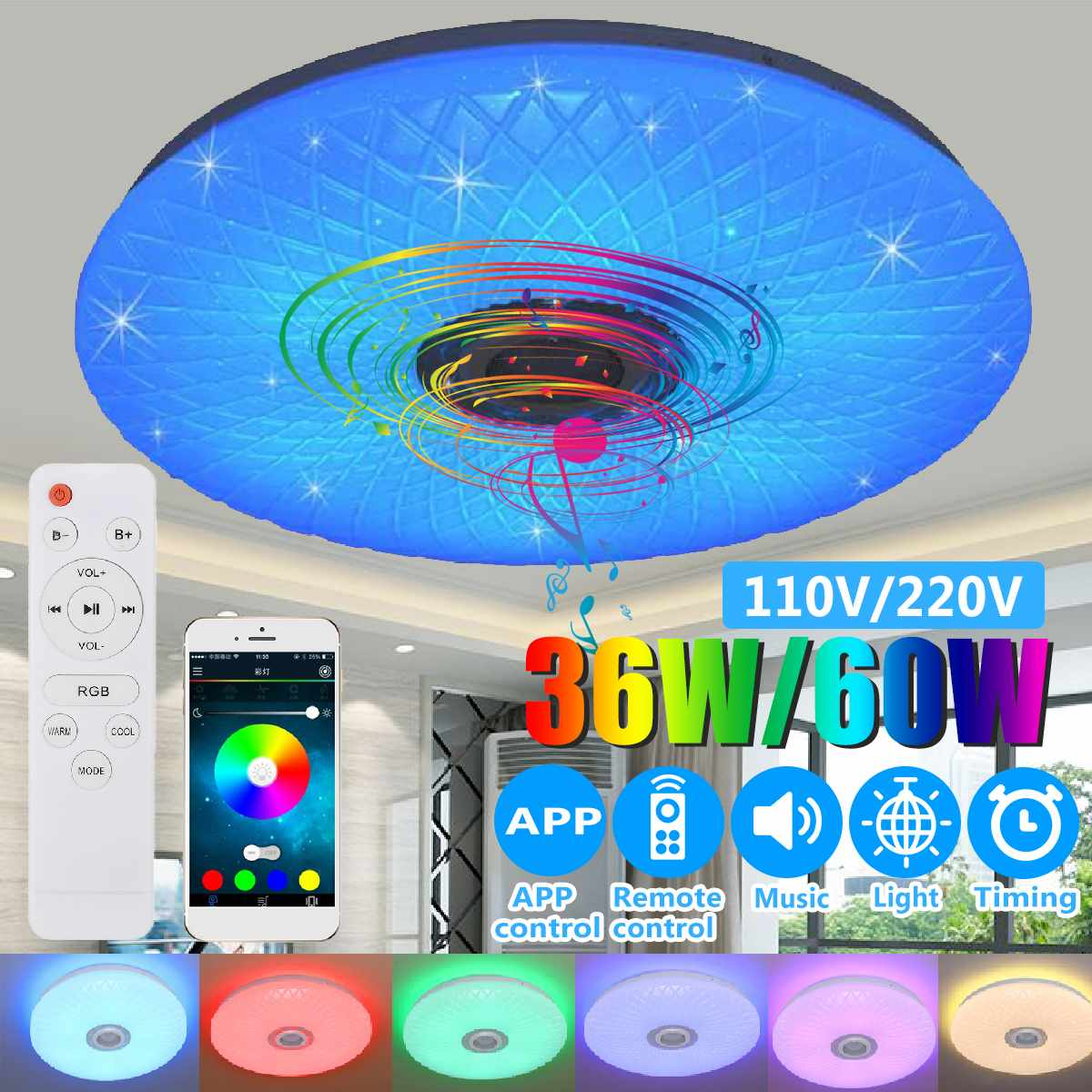 Modern RGB LED Ceiling Light home lighing 36W 60W 40cm APP Remote Control bluetooth Music Light Modern RGB LED Ceiling Light home lighing 36W/60W 40cm APP Remote Control bluetooth Music Light Bedroom Lamp Smart Ceiling Lamp