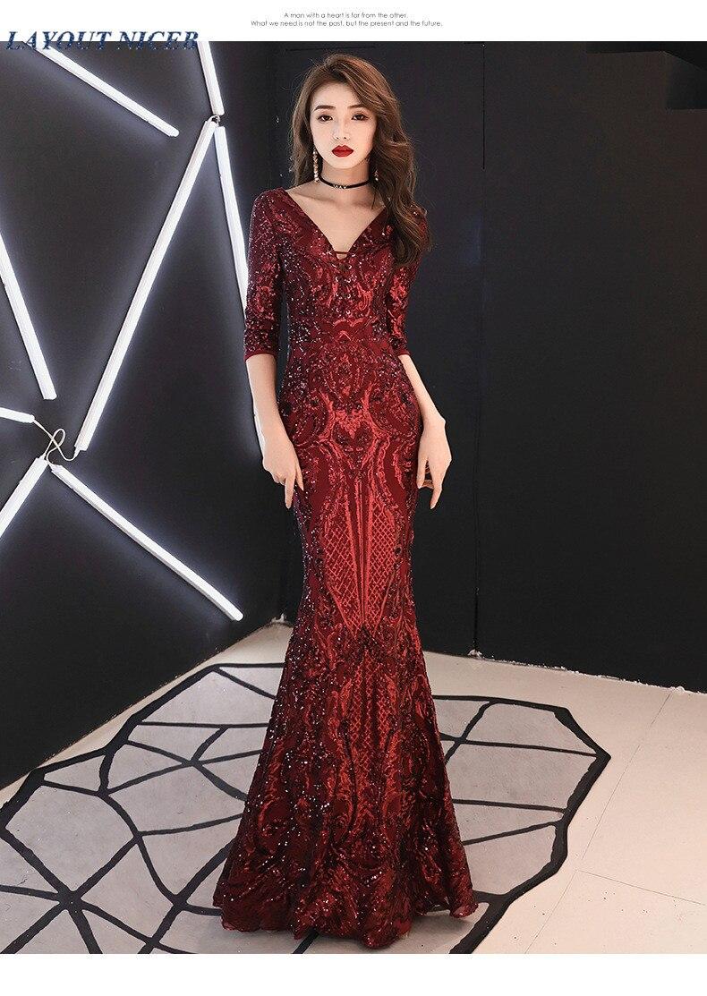 Paillettes longues robe de soirée sirène demi manches robe de soirée col en V robe de soirée formelle vestidos de fiesta de noche