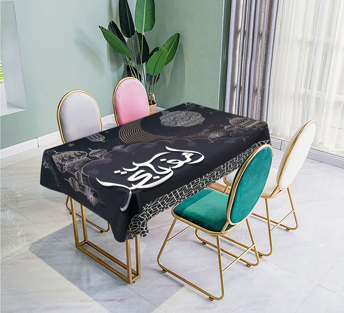 2020 Muslim Tablecloth Eid Mubarak Tablecover Waterproof Oil-proof Peach Skin Fabric Dining Table Cloth Ramadan Decoration