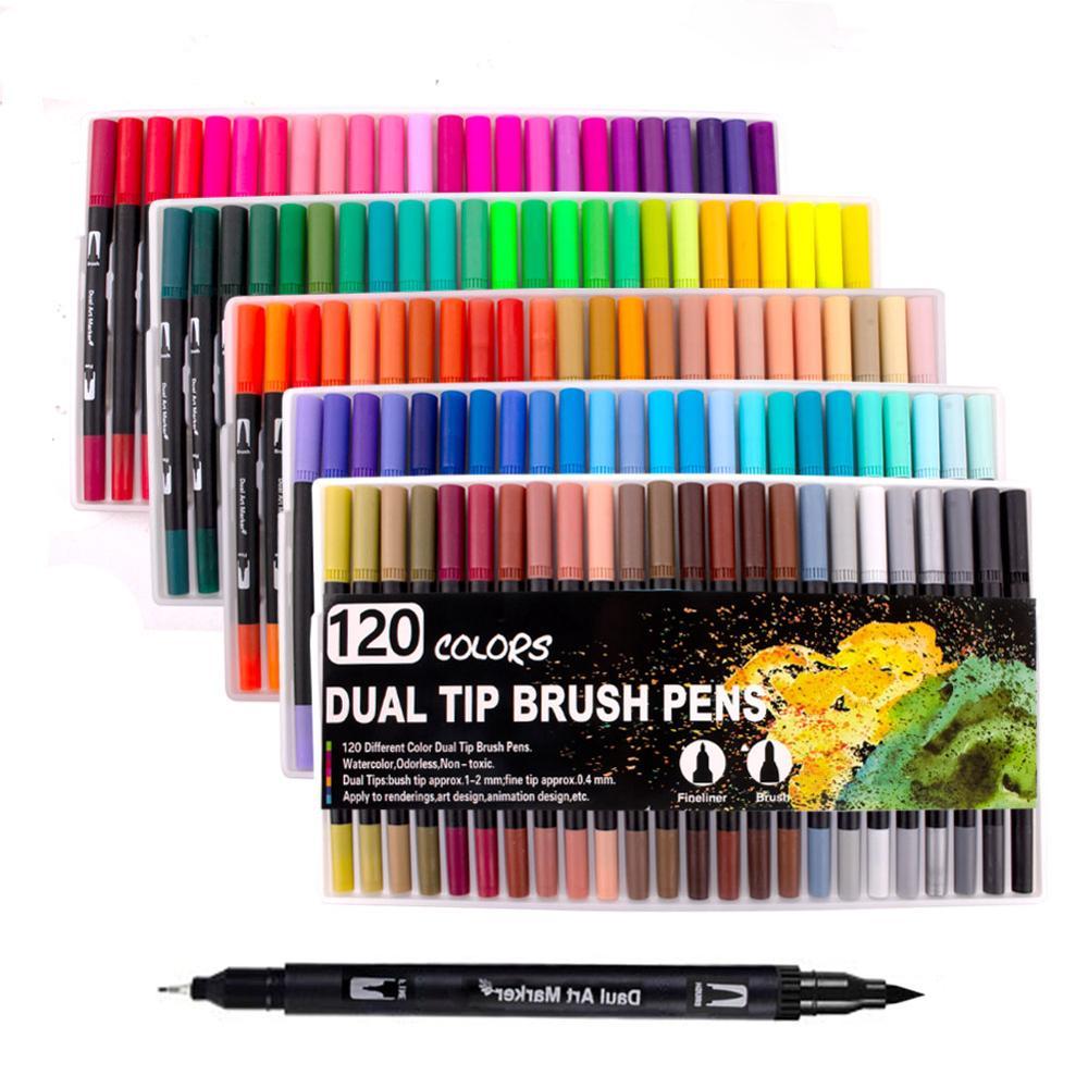 Fineliner акварельные кисти маркеры с двумя кончиками для рисования манги 12 24 36 48 60 72 100 120 цветов акварельные кисти
