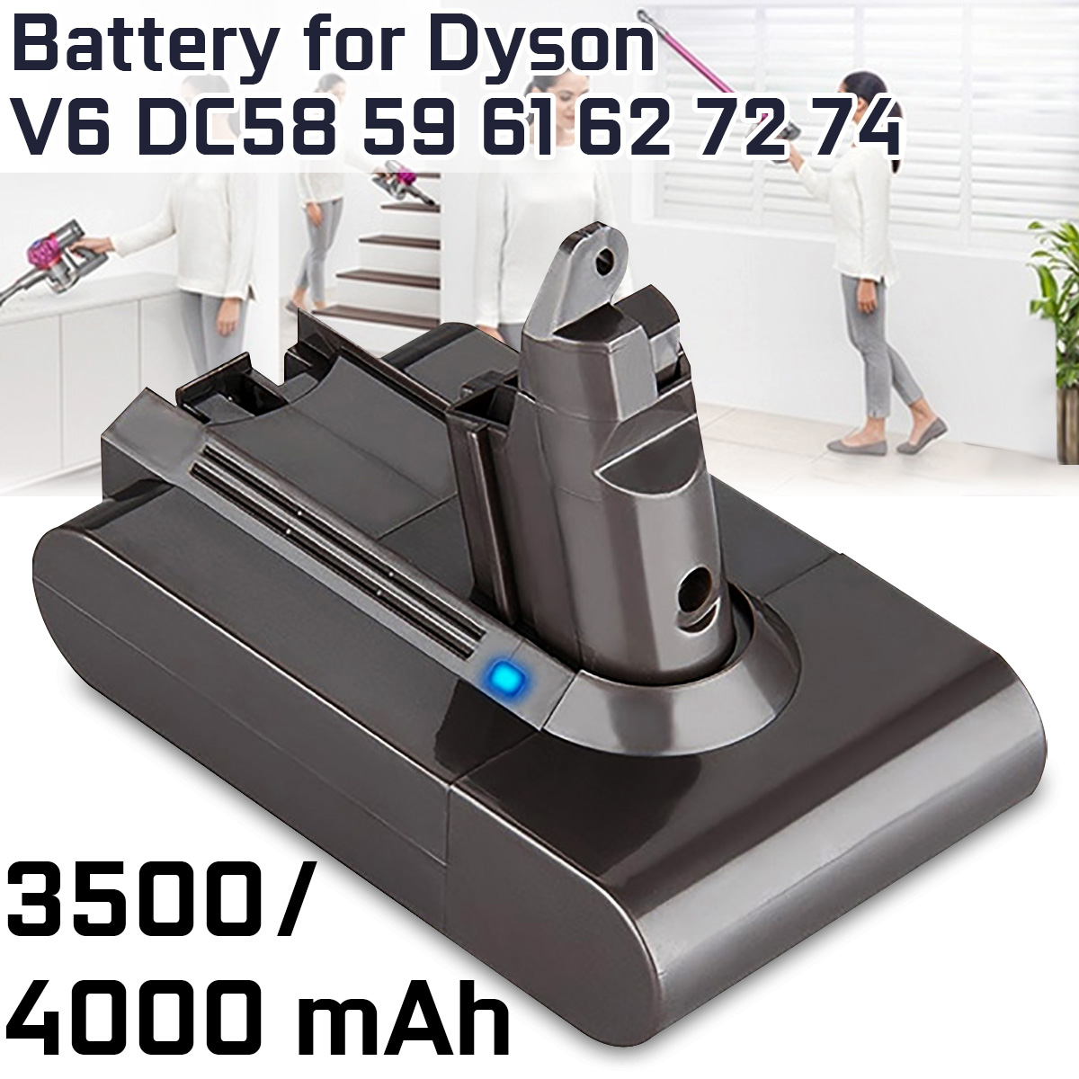 4000mAh 3500mAh Vacuum Cleaner Battery For Dyson V6 DC58 59 61 62 72 74 Vacuum Cleaner Accessories Kit Replacement Battery