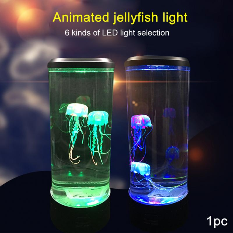 Bedside Lamp Aquarium LED Night Light Hypnotic Jellyfish Relaxing Desktop Child Color Changing Fantasy Table Relaxing Mood Style