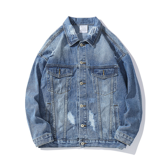 2019 Autumn Denim Jacket Men Hole Lion Print Jeans Coat Mens Hip Hop Jackets Streetwear Fashion Harajuku Male HZ227