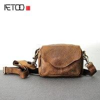 AETOO 원래 수제 가죽 가방 미친 말 피부 소년 크로스 패키지 간단한 복고풍 가방 가죽 주머니 기능 메신저 가방