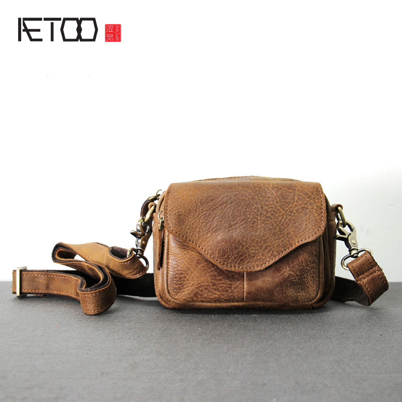 AETOO Original Handmade Leather Bag Crazy Horse Skin Boys Cross Package Simple Retro Bag Leather Pockets Function Messenger Bag