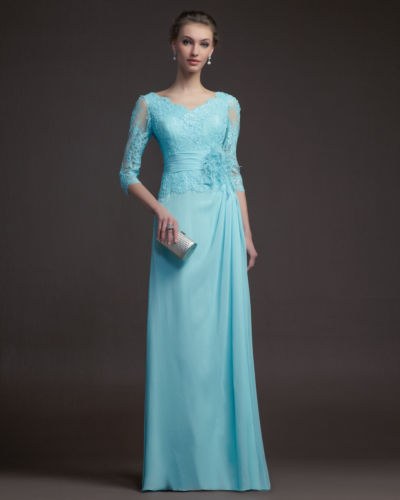 Free Shipping 2018 Handmade Three Quarter Lace Applique Flower Chiffon Floor Length Evening Gown Mother Of The Bride Dresses