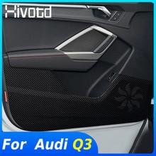 Hivotd สำหรับ Audi Q3 2020 2019อุปกรณ์เสริมประตูรถ Anti Kick Pad สติกเกอร์ป้องกันคาร์บอนไฟเบอร์ภายในประตูด้านข้างขอบชิ้นส่วนฟิล์ม